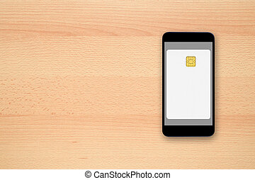Blank credit card on smartphone screen - contactless payment...