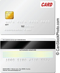 Blank credit card vector template. Front and back view.