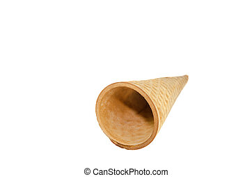 blank crispy ice cream cone isolated on the white