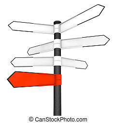 Blank crossroad pointers with one red