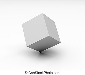 blank cube over the white