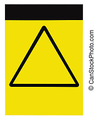 Blank customizable yellow black triangle general caution warning attention sign, isolated