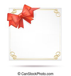 blank decorative gift background with frame and red ribbon