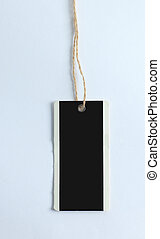 blank decorative tag made of cardboard on a white