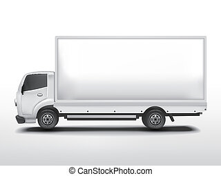 blank delivery truck isolated on white background