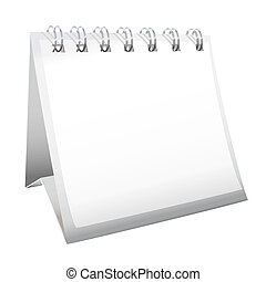 White blank calendar with spiral metal bound pages