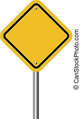 Blank diamond shaped warning yellow sign