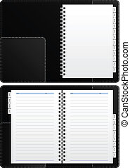 Blank Diary Notebook - This is an black diary opened...