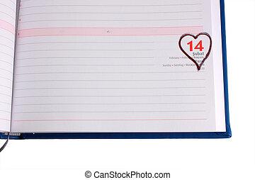 Blank diary page 14 February - Horizontal