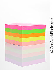 Blank different colors sticky note paper on white