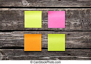Blank different colors sticky note paper sheets