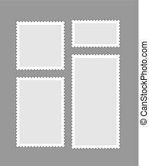 Blank different proportion postmark set on gray background. Vector illustration.