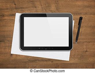 Blank digital tablet on a desk - Blank modern digital tablet...