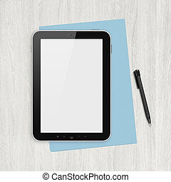 Modern blank digital tablet, papers and pen on a blank wooden desk. Top view. High quality detailed graphic collage.