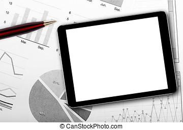 blank digital tablet on business documents