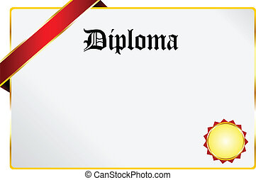 Diploma - Blank Diploma Document With Golden Ribbon Isolated...