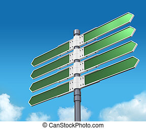 Blank direction sign with 8 arrows  on sky backgr