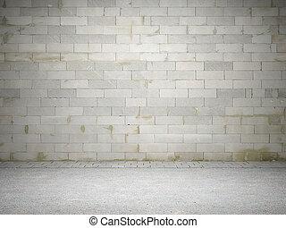 Blank dirty brick wall