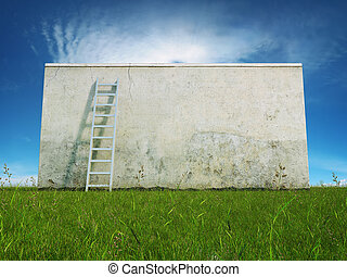 Blank dirty wall - Blank dirty grunge wall with ladder on...