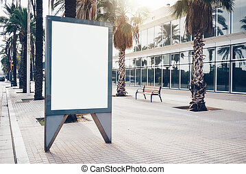 Blank display box on the street of a city. Horizontal