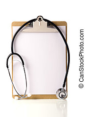 Blank Doctor\'s Clipboard with a Stethoscope