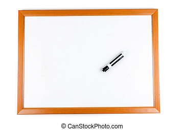 Blank dry erase board with marker