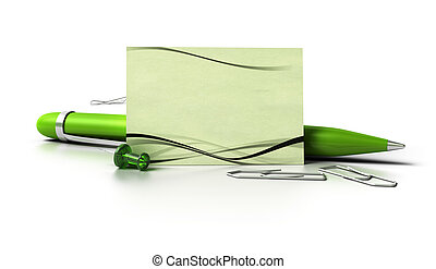 blank eco friendly business card with green ballpoint pen, thumbtack and paperclips over white background