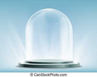 Blank empty and transparent glass dome on podium. Template mock-up for exhibition, advertising and presentation.