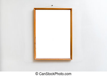 Blank empty frame in art gallery. Museum exhibition white clippi