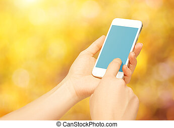 blank empty phone device in hands of woman on nature in autumn