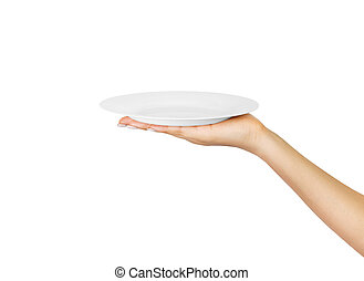 Blank empty round plate in female hand. perspective view, isolated on white background