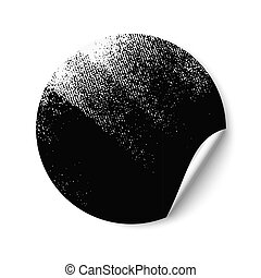 Blank empty round sticker partially painted in black with a paint roller. Sticker with a turned edge. Promotional sticker on white background