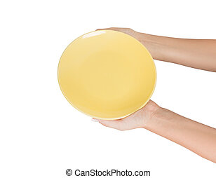 Blank empty round yellow plate in female hand. perspective view, isolated on white background