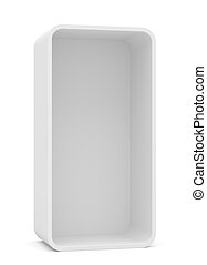 Blank empty rounded showcase display. Front view. Mock-up....