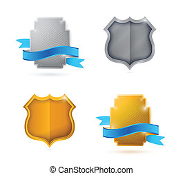 blank. empty shield and seals ready for customization. illustration design