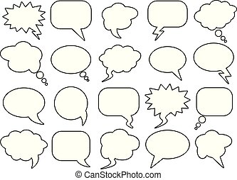 Blank empty speech bubbles for infographics. Black and white...