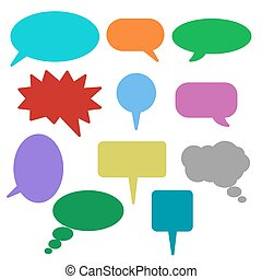 Blank empty speech bubbles icons.