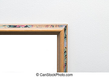 Blank empty vintage frame in art gallery. Museum exhibition whit