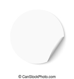 Blank empty white round sticker with a turned edge. Promotional sticker on white background