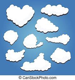Blank empty white speech clouds