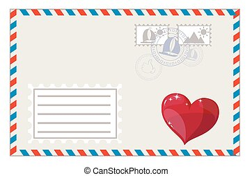 Blank envelope with heart and brands ready to ship, vector...