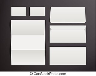 blank envelopes, business card and folder
