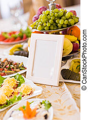Blank event Guest Card on restaurant table close-up