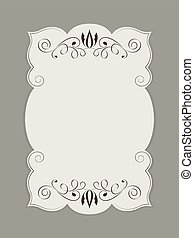 Blank figured card with floral ornament vector illustration.