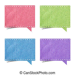 blank film strip speech bubbles recycled paper craft stick...