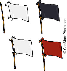 Blank Flags Over White