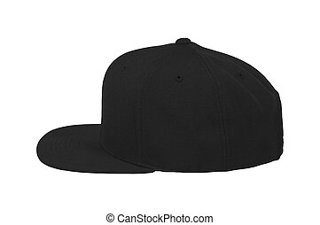 blank black and white baseball cap mockup set profile side view