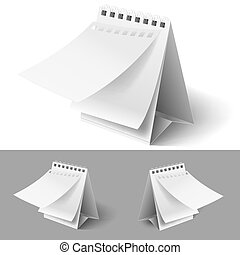 Blank table flip calendars with tear off first page on white and grey backgrounds