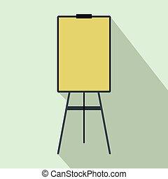 Blank flip chart icon, flat style
