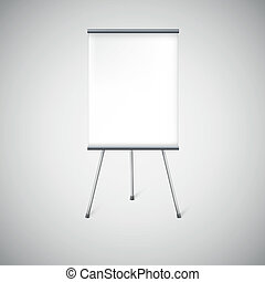 Blank flip chart or advertising stand, easel isolated on white.